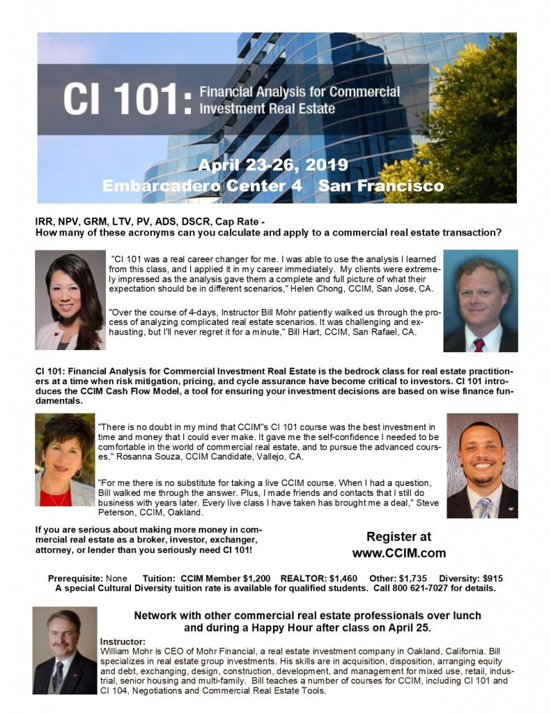 CI 101 Financial Analysis for CRE - April 23-26 in SF @ Embarcadero Center 4