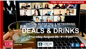 Drinks & Deals -- Marketing & Networking Aug. 20, 4 -5 pm @ Zoom Meeting